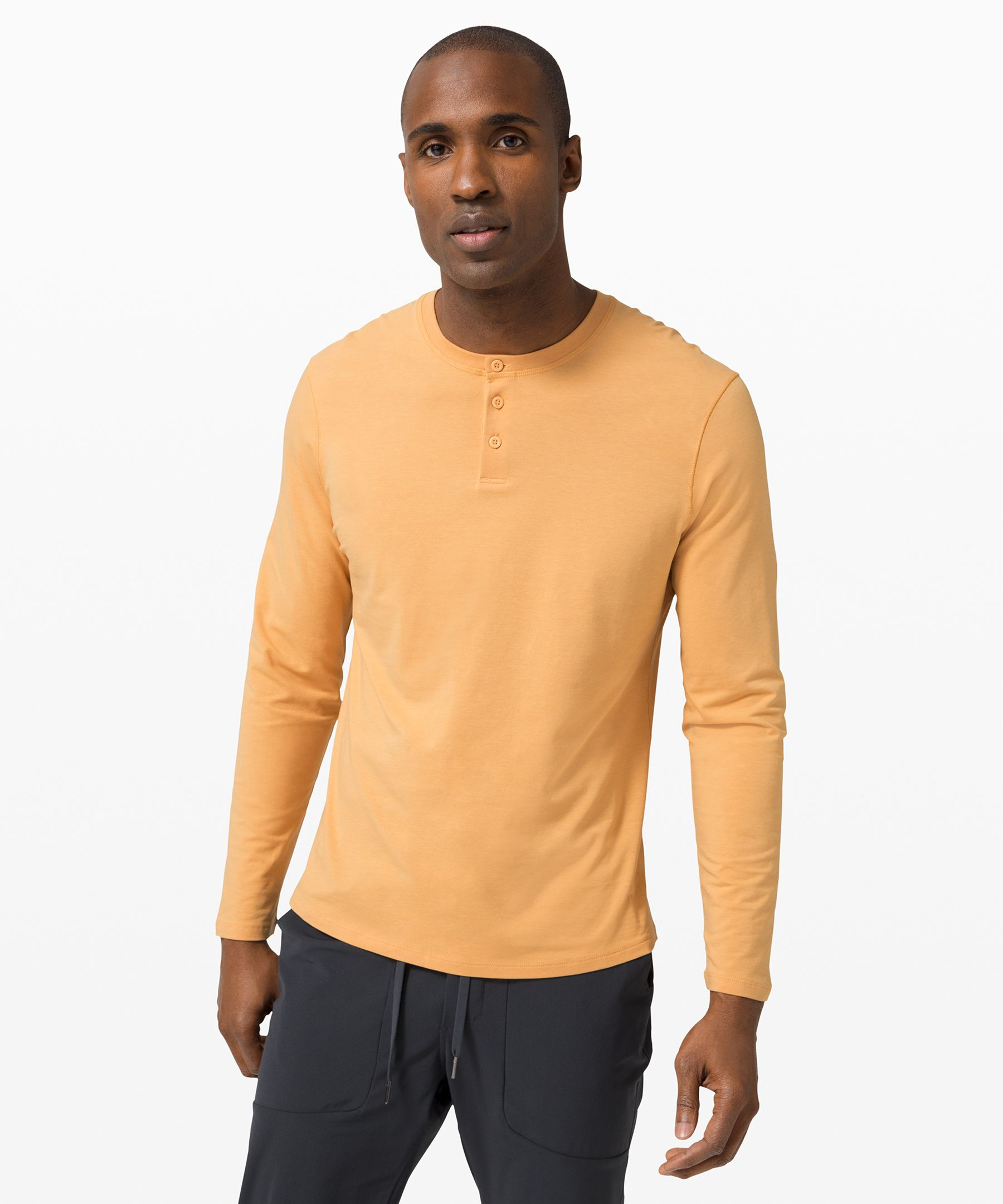 This soft, lightweight  long-sleeve henley is built  for ultimate everyday comfort.