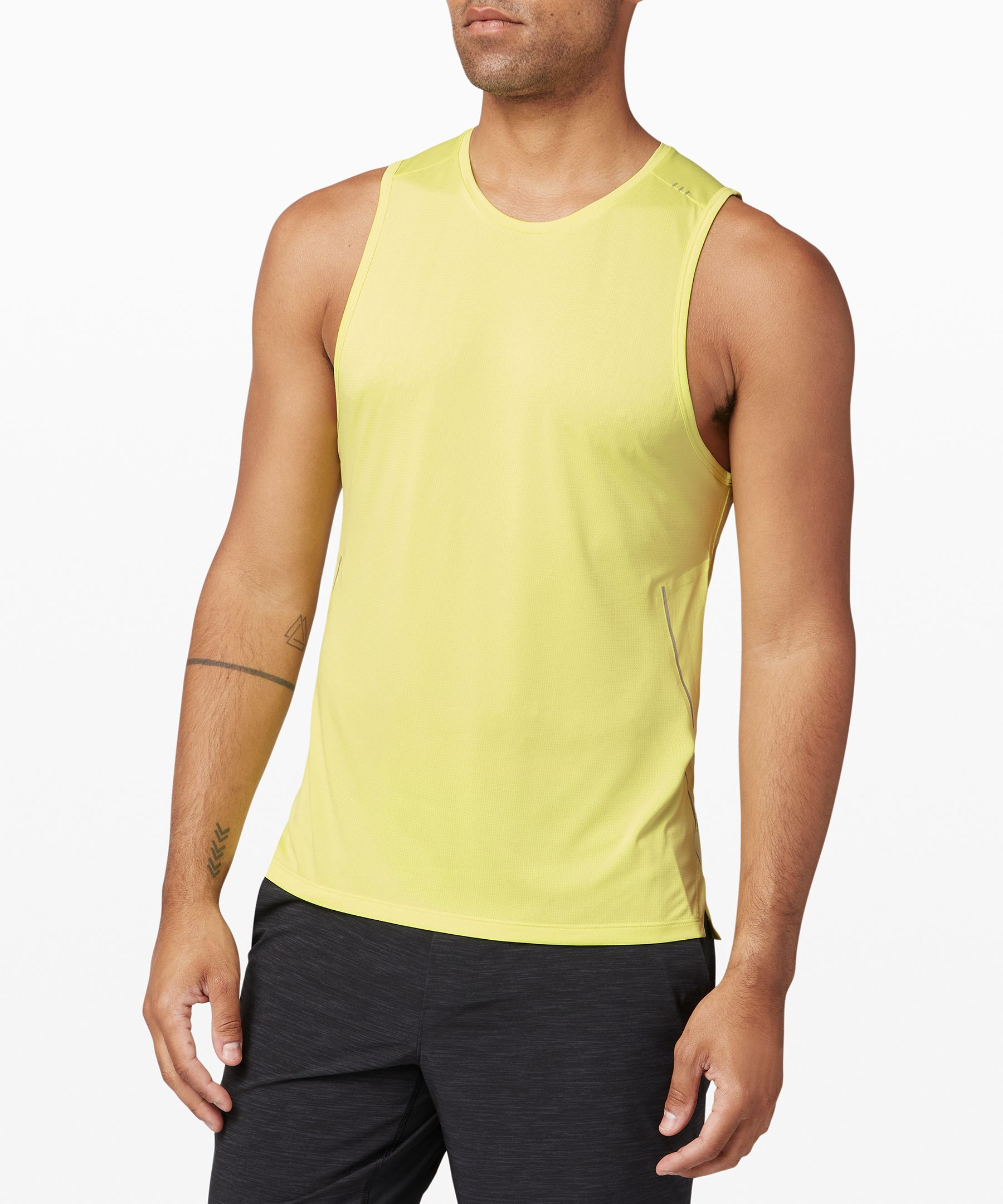 Power through your last mile  with nothing holding you back.  This breathable run tank is  made with super-lightweight  Mesh fabric to keep you  feeling fast and free.