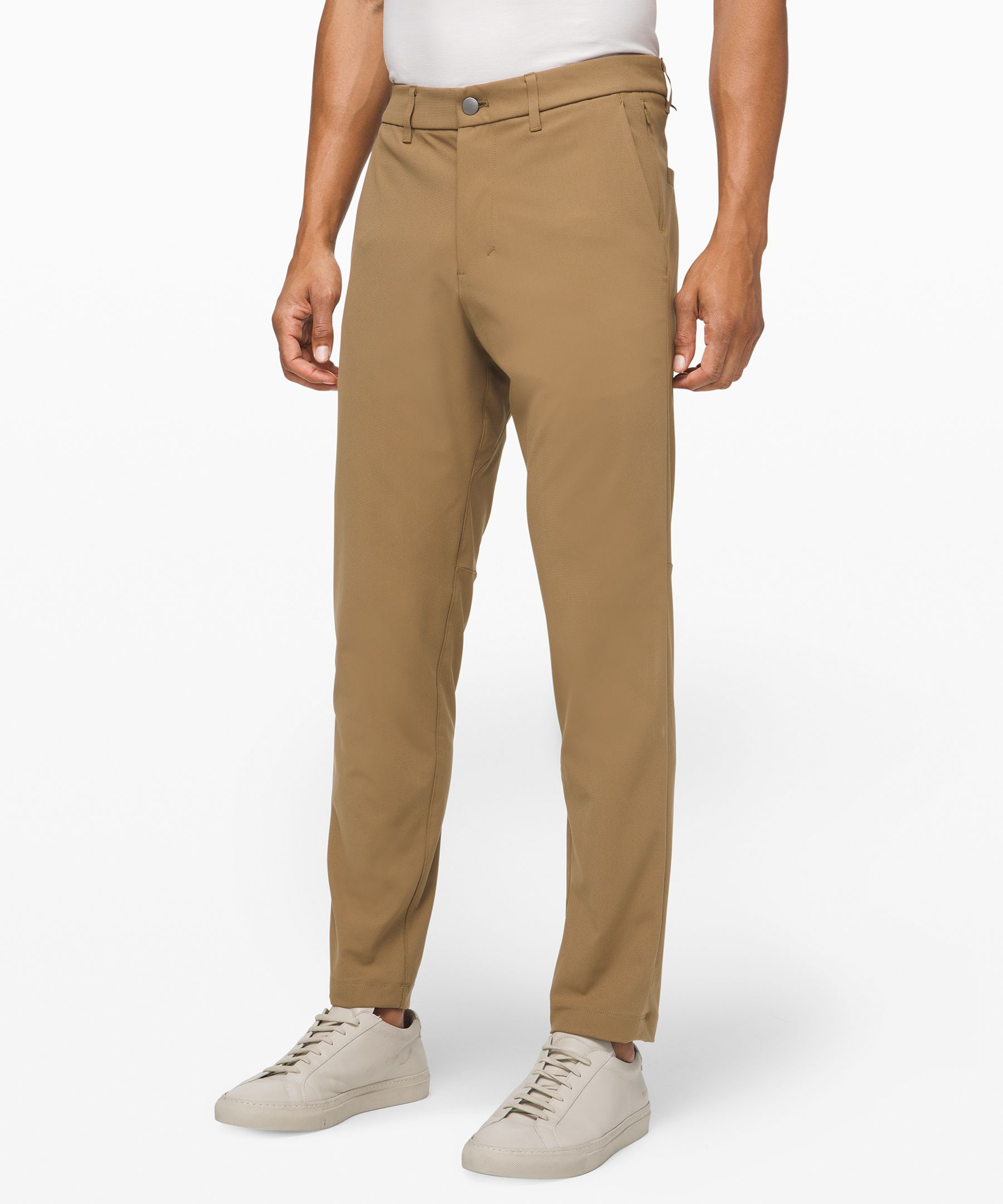 Inspired by chinos, these  slim-fit pants are made for  all-day comfort.