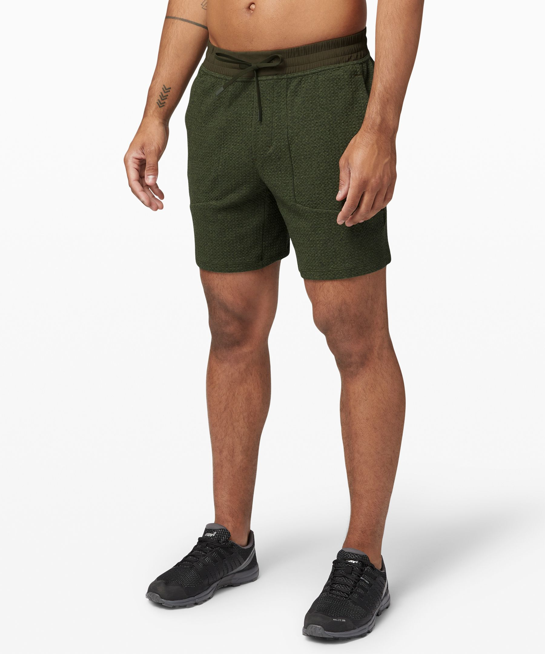 Relax and restore post workout  in these soft shorts with a  textured fabric that relaxes  over time.