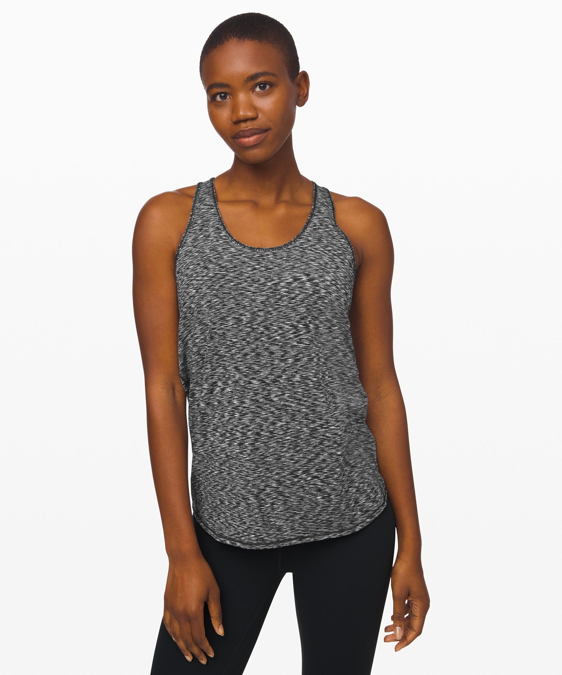 Flow through your practice in  this lightweight, anti-stink  tank. The loose fit allows for  easy layering over any bra.
