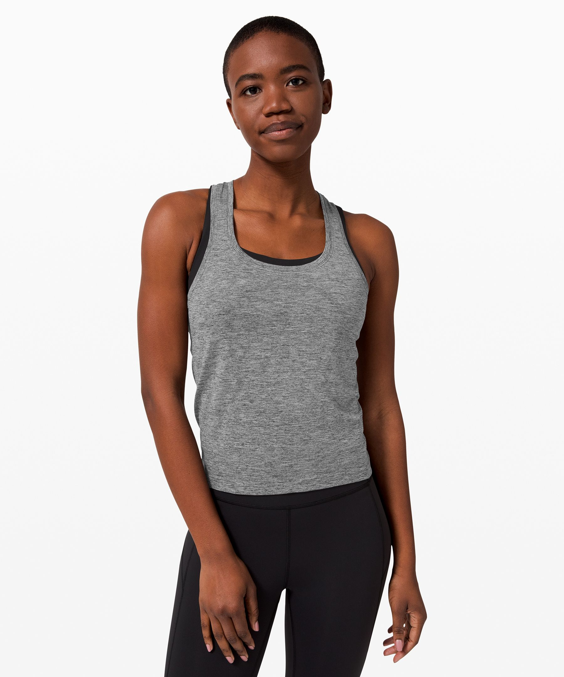 Whether you\\\'re running or  training, this anti-stink tank  gives you the lightweight,  breathable coverage you need.  Shortened length won\\\'t ride up  on long runs or race day.