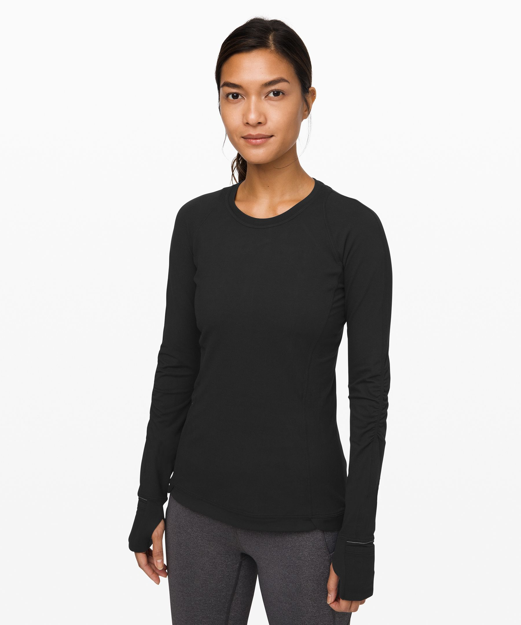 We designed this soft, warm  long sleeve to be your  cold-weather-running  companion. The slim fit layers  easily under jackets, and  wicks sweat away from the skin.