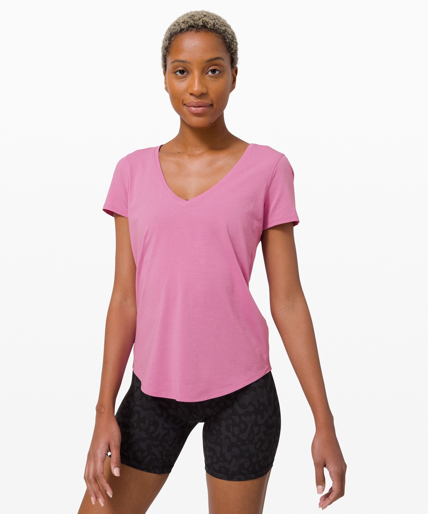 This super-soft v-neck tee  won\\\'t wear out its welcome.  With added stretch for  mobility and an easy fit to  keep you cool, it\\\'s your  versatile essential, every day.