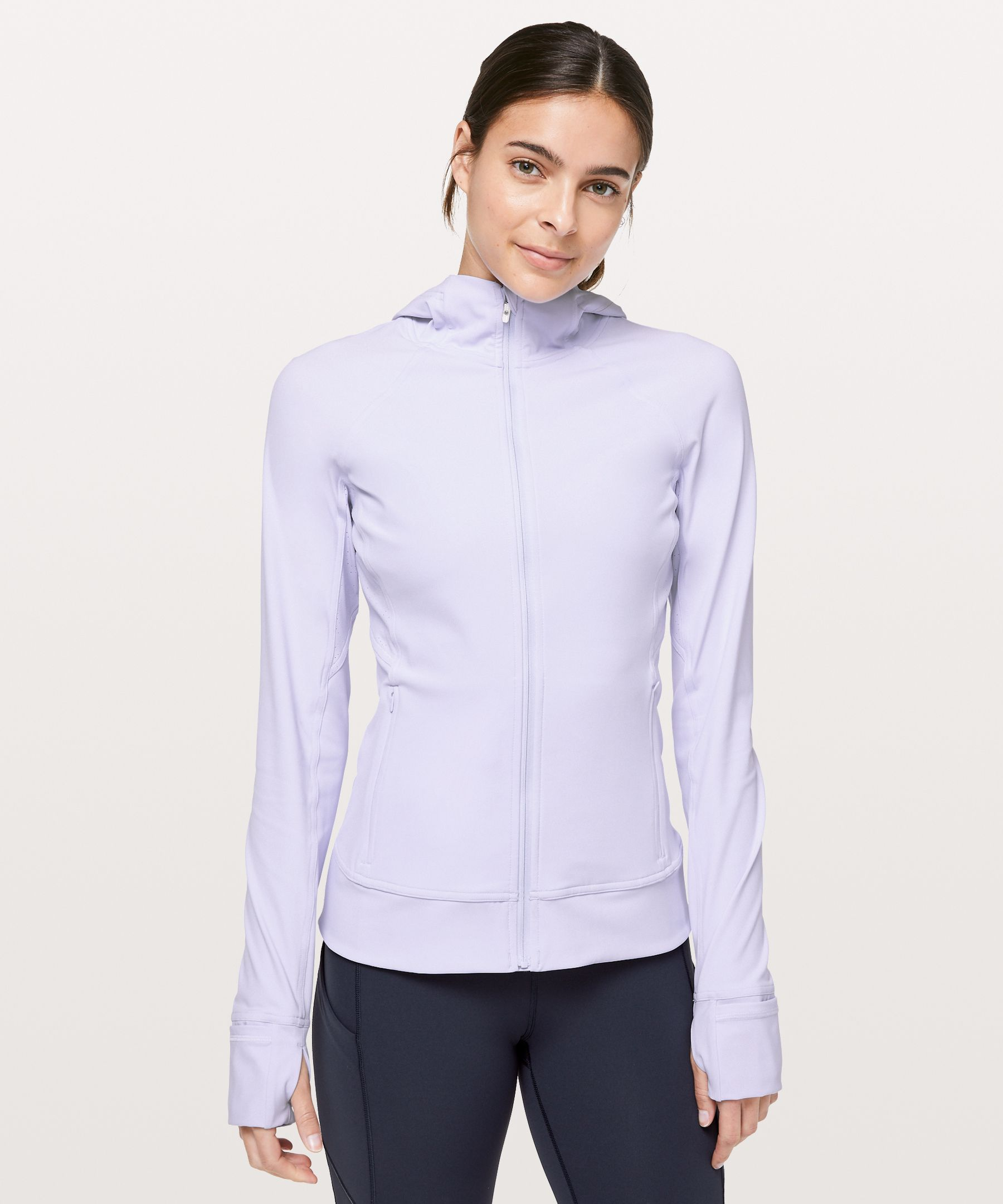 This technical run jacket has  ventilation where you need it  most, while the slim fit makes  for easy layering.