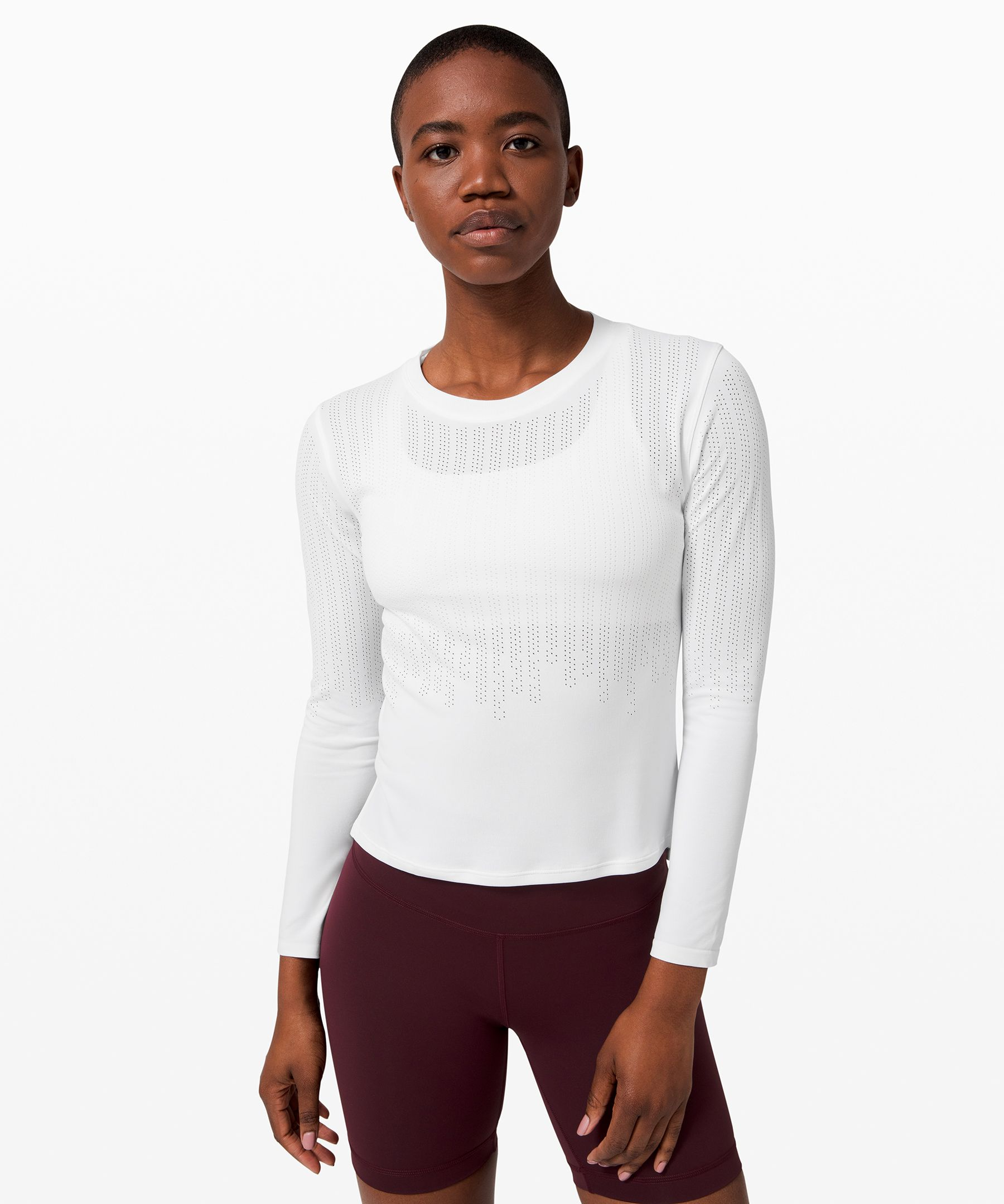 Soft, with a modern  silhouette, this long sleeve  is perfect for restorative  yoga, intense workouts, and  everything in between.