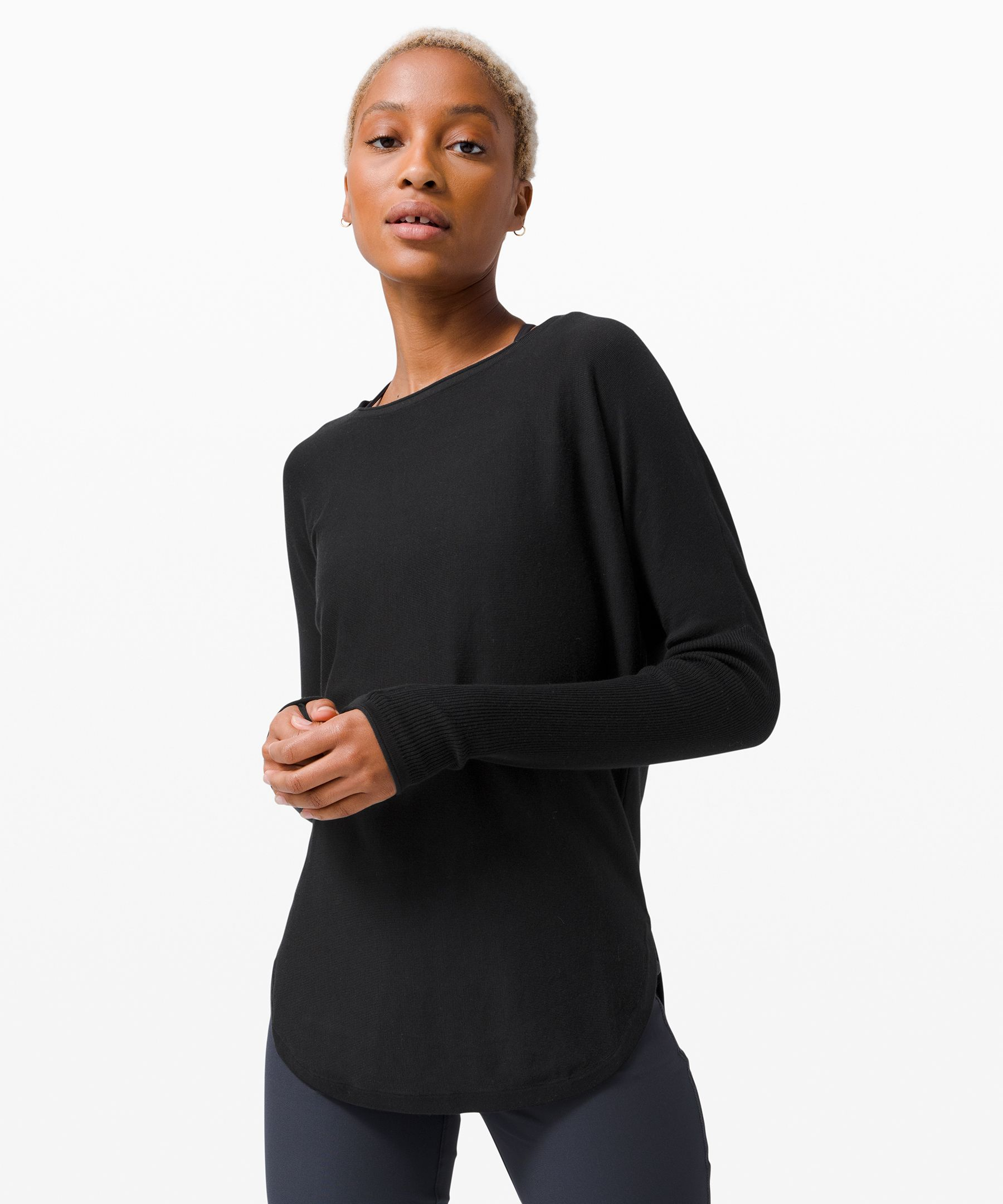Grab and go. This light and  easy sweater has a rounded hem  and relaxed crew neck, making  it great for busy (and not so  busy) days.