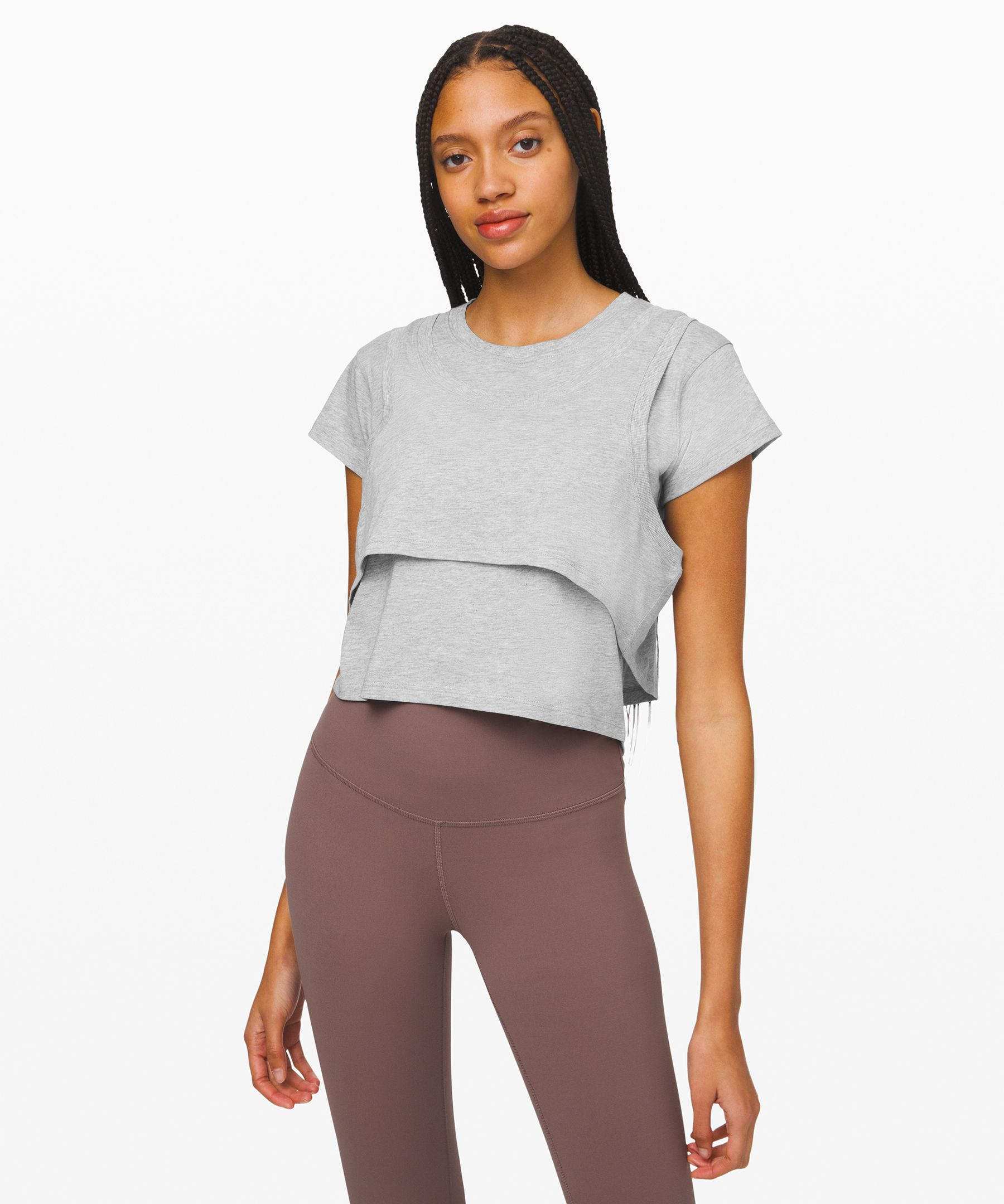 It\'s a tee, it\'s a tank, it\'s both. Feel covered and cool in this cropped top that does all the layering for you.