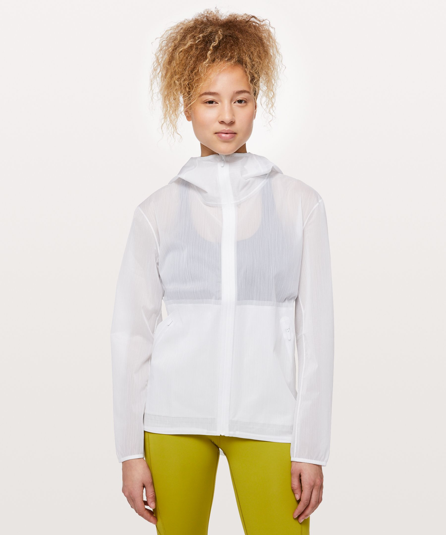 Embrace unpredictable weather  in this lightweight jacket.  Translucent and textured, this  material looks like chiffon  and performs like a technical  fabric, so you can take on  wind and light rain in style.