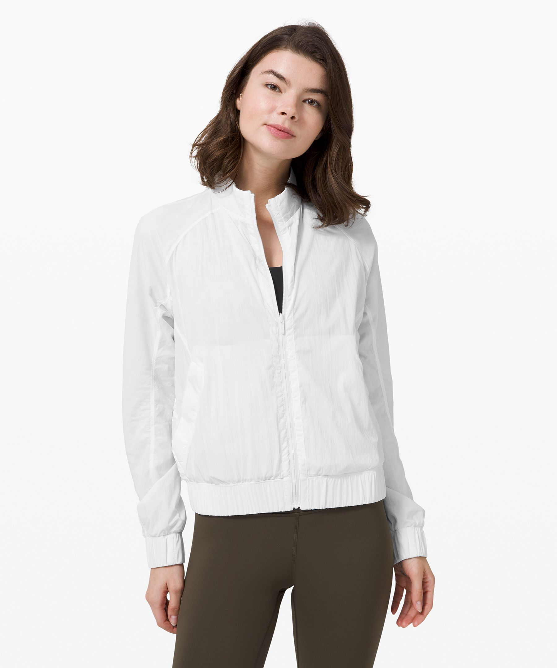 Reach for this bomber on  summer nights when you need  light element protection, or  reverse it and wear it as your  sweat-wicking layer when  walking from the studio to  your neighbourhood cafe.