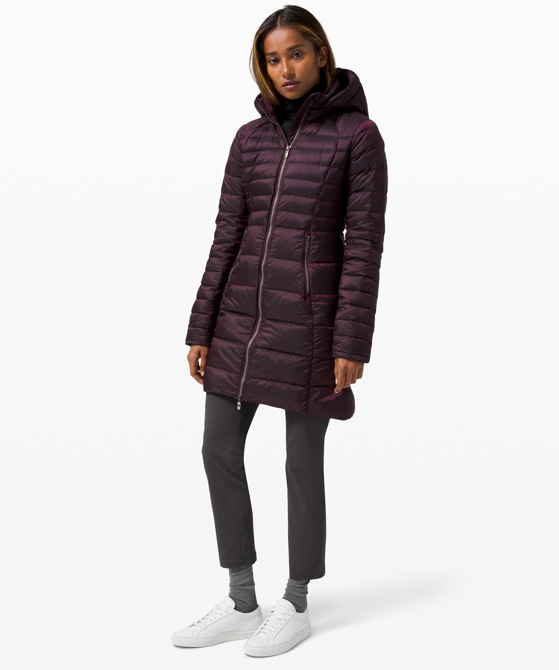 Braving the cold won\\\'t be an issue in this long, lightweight, and down-filled parka jacket. Glyde fabric is wind- and water-resistant. 700-fill-power goose down provides lightweight warmth.