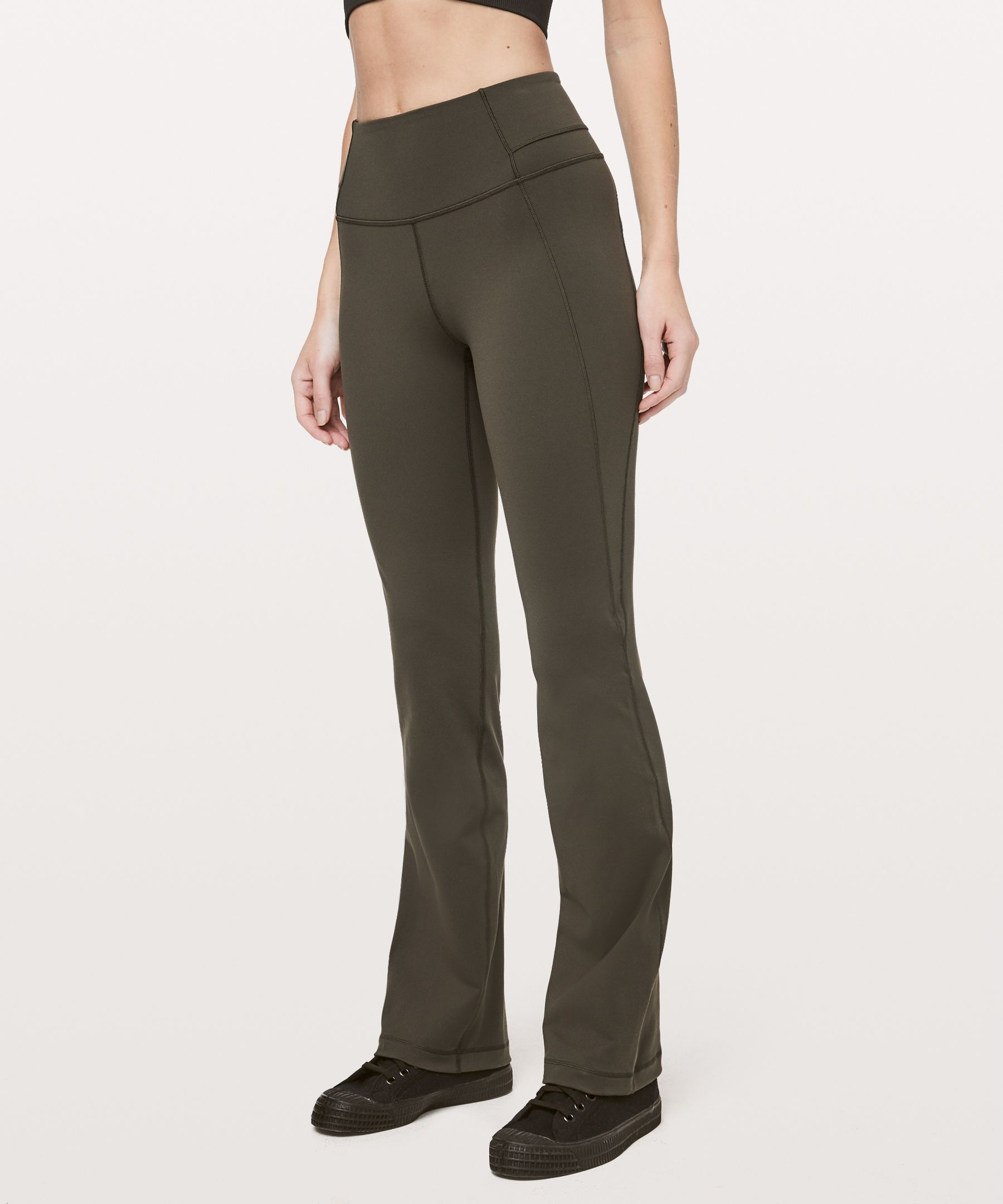 The return of a coveted  classic—these high-rise,  bootcut pants are perfect for  your practice (and your  post-practice look).