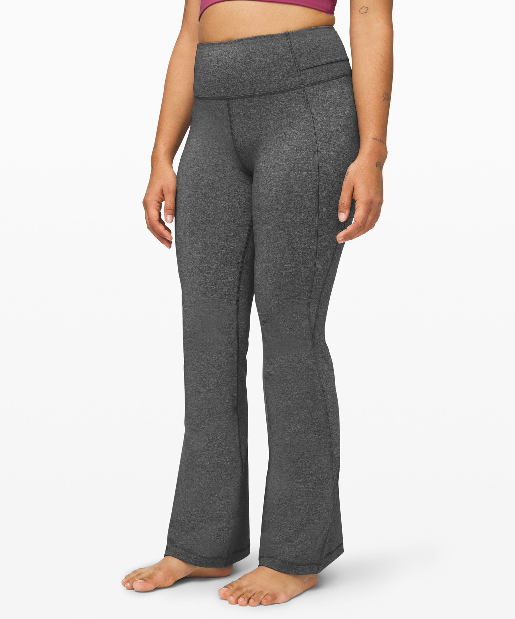 The return of a coveted  classic—these high-rise,  flared pants are perfect for  your practice (and your  post-practice look).