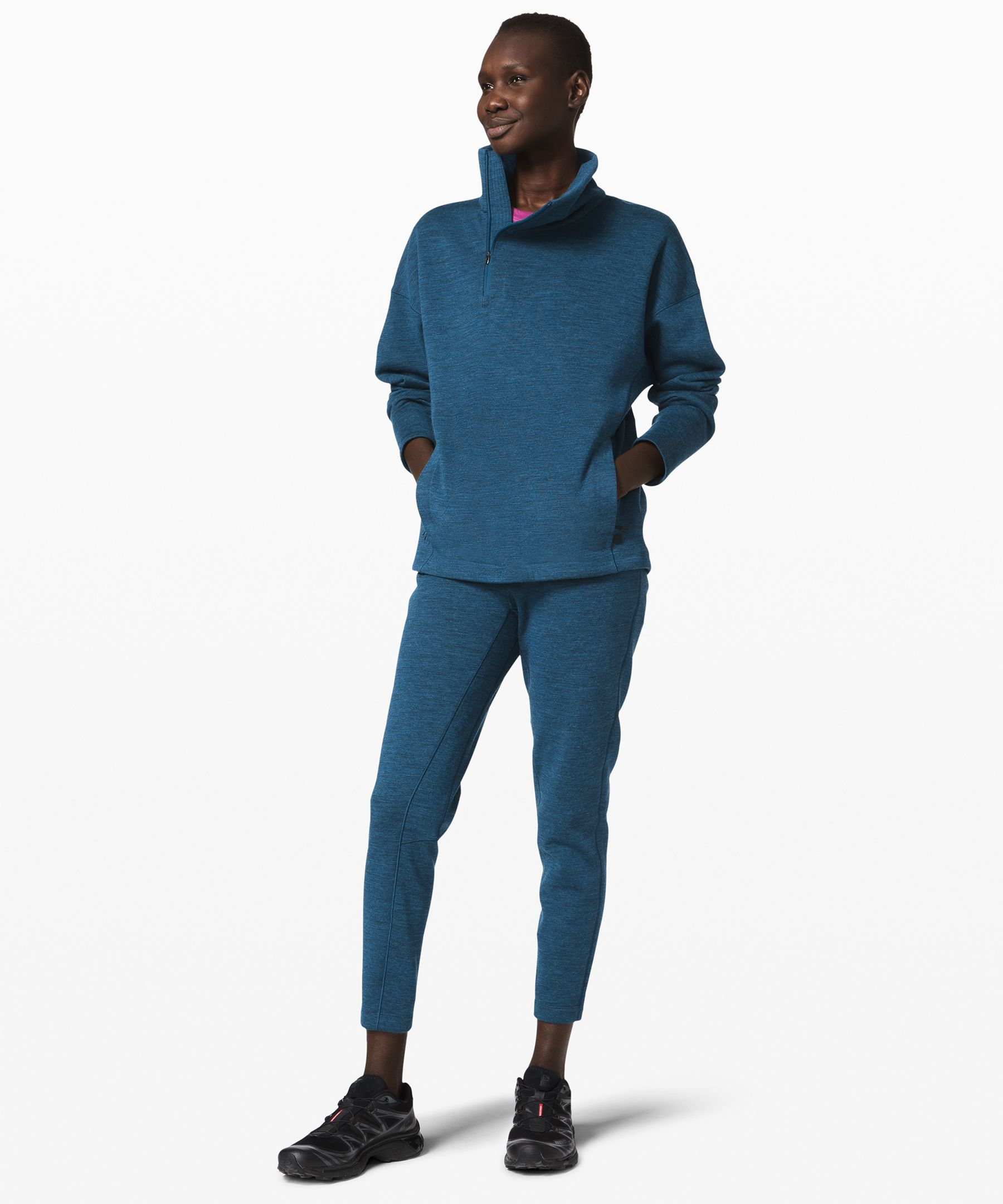 lululemon lab creates  lifestyle essentials for the  modern wardrobe. Soft, cozy  wool-blend Fleece fabric makes  these tapered joggers the  perfect pant for journeys long  and short.