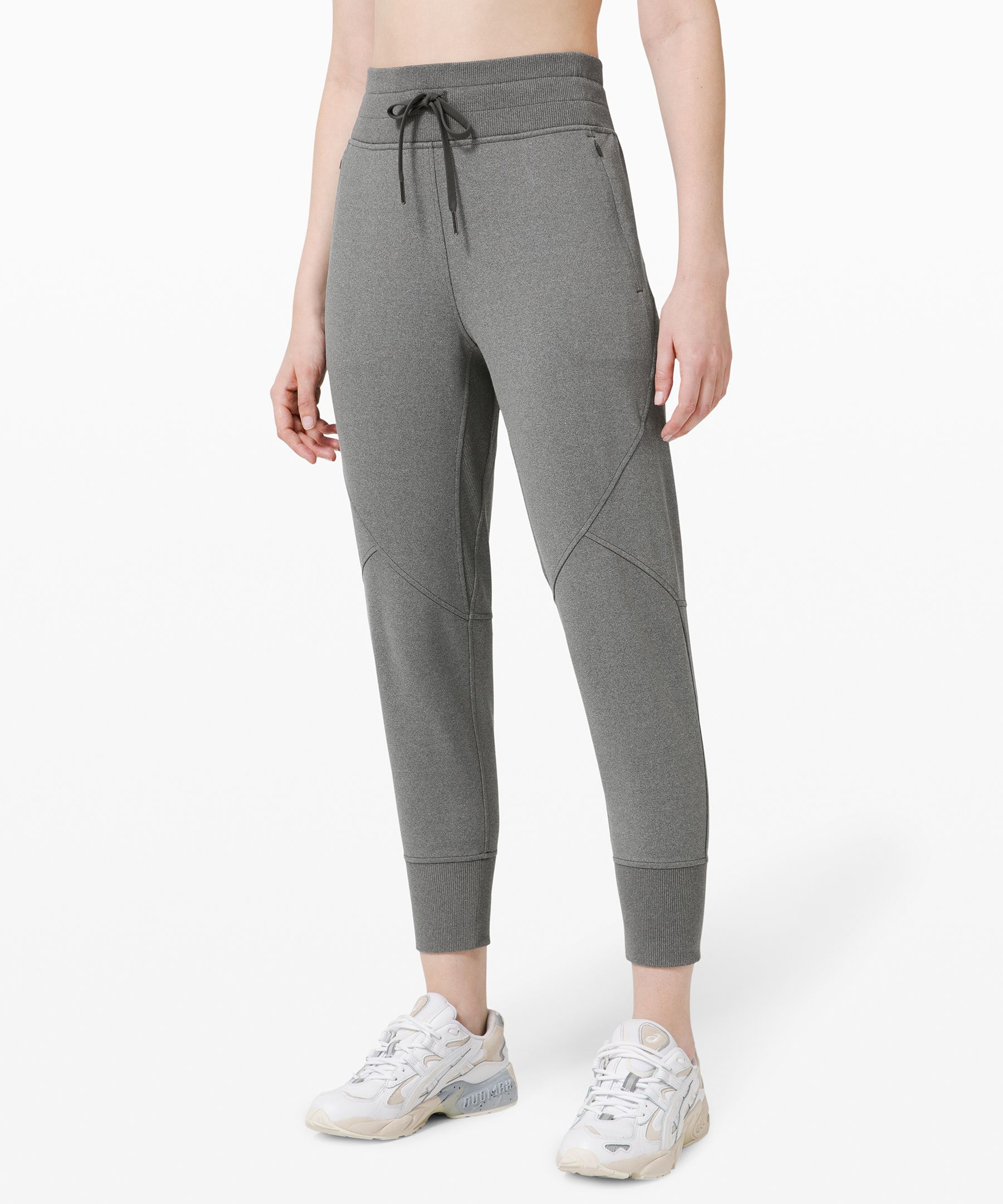 Move through your workouts and  beyond in these casual yet  sleek joggers, made from  technical fabric that\\\'s as  comfy as your favourite  sweats, but handles  perspiration so you feel glowy  not gross.