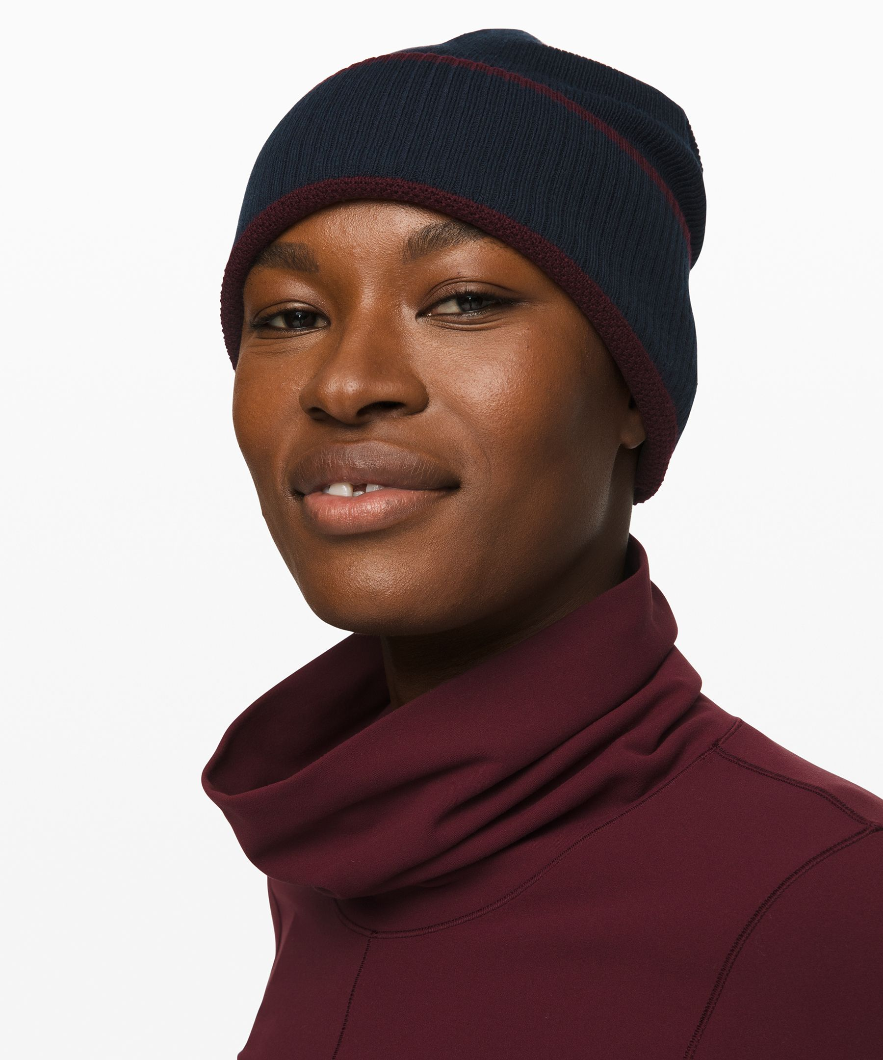 Reversible and double-layered  for extra warmth, this slouchy  beanie will help you stay cozy  on days spent outside.