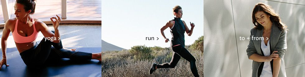 women's yoga, run and to&from gear