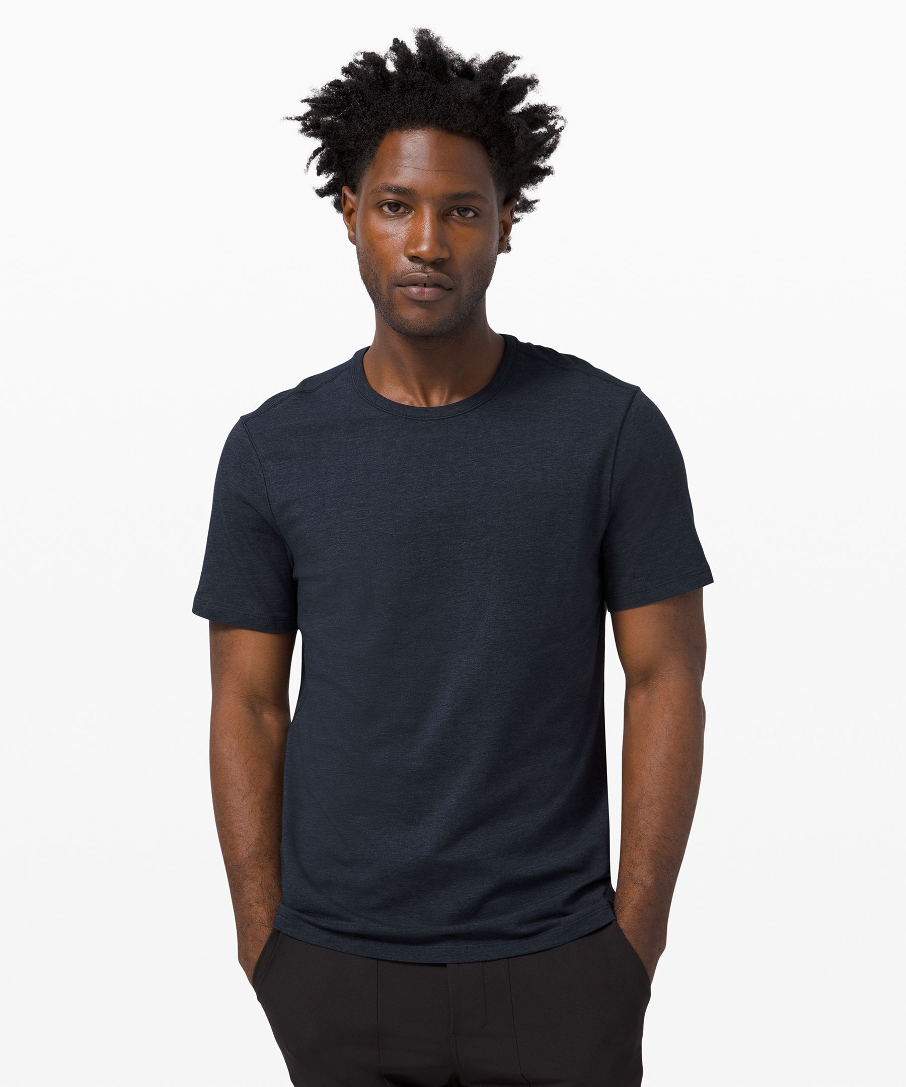 Our men's technical shirts, with wicking properties, are designed for yoga, running and working out. Complimentary shipping to Canada and the US.