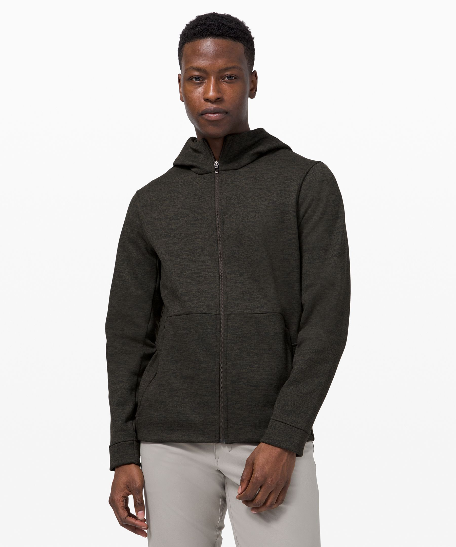 Soft, comfy wool-blend fabric and secure storage for essentials, this zip hoodie\\\'s a punch above your usual sweatshirt.
