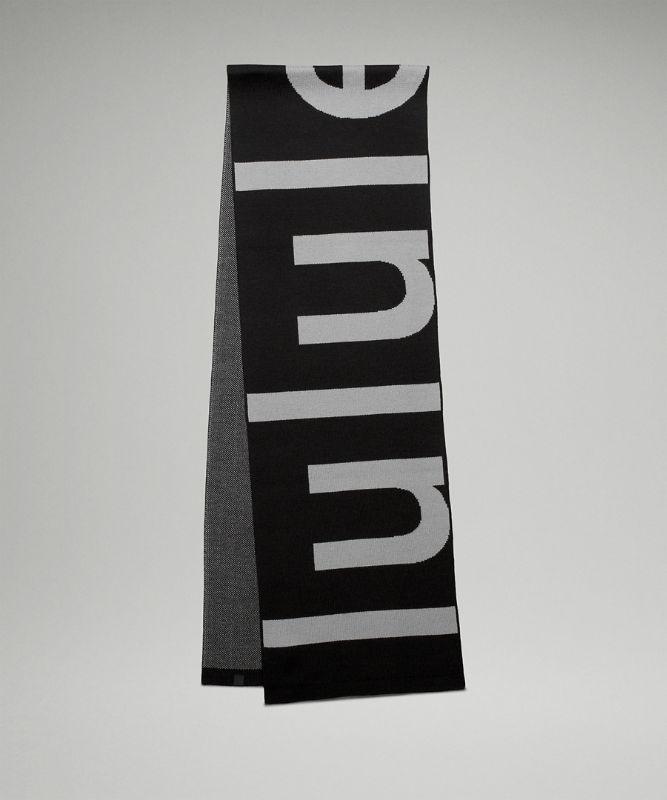 Strickschal aus Wollmischung mit Logo