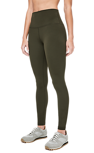 ebd1364357 1 3 view of women s lower body wearing dark olive tight pants.