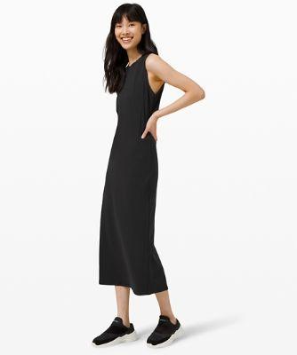 올 얼라인드 미디 드레스, BLACK