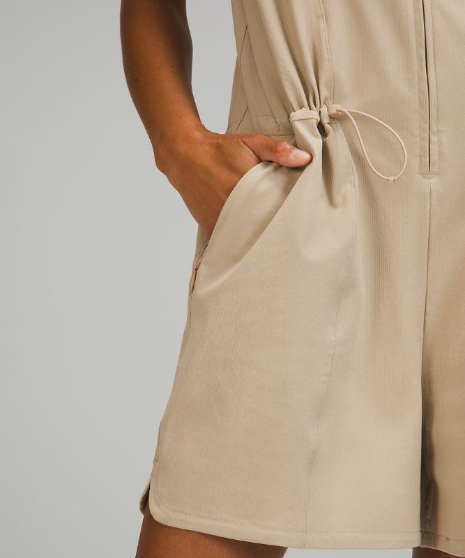 Combishort côtelé extensible à poches