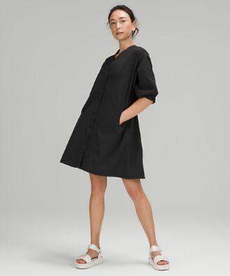 Ventlight™ 버튼 프론트 드레스, BLACK