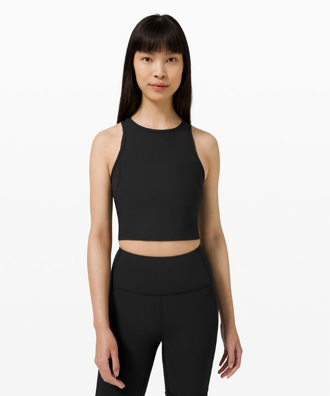 Ribbed Contoured Racerback Cropped Yoga Tank Top