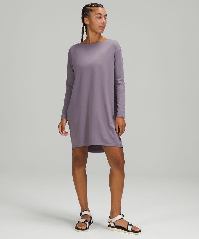 백 인 액션 롱 슬리브 드레스