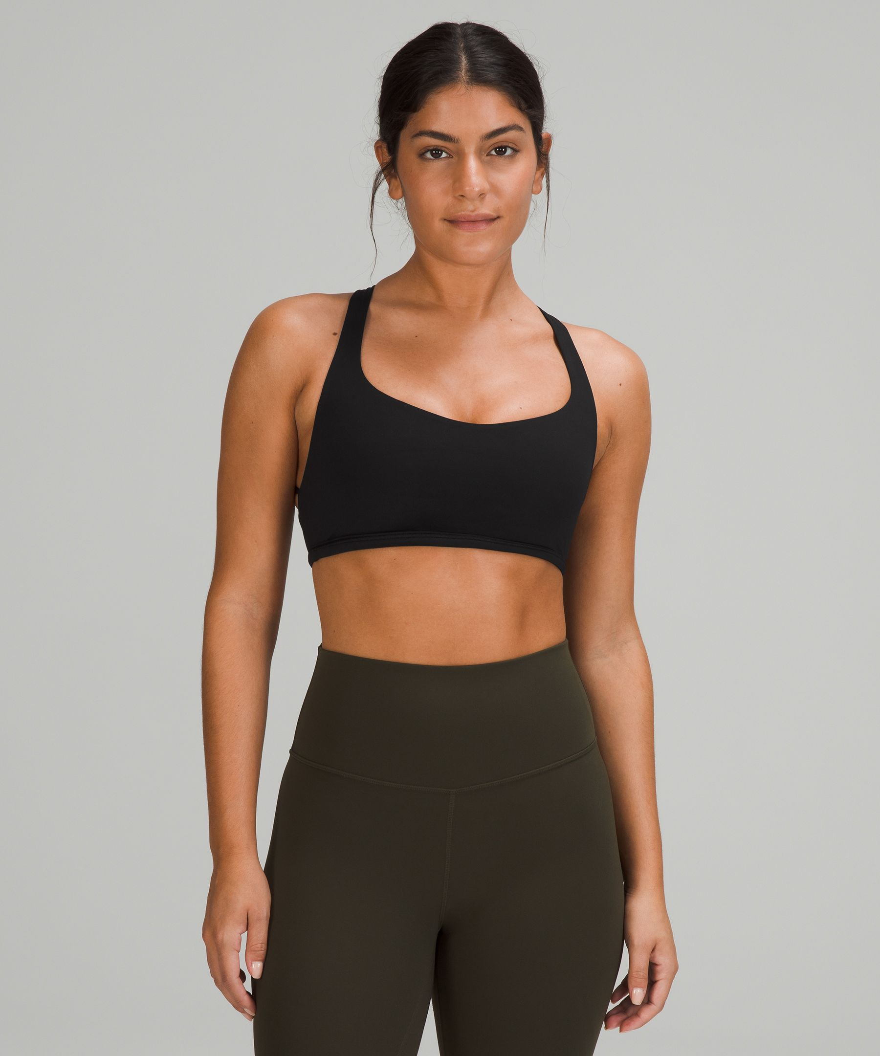 Meet you at yoga This strappy open-back bra is ready for all the ways you move, stretch, and open.