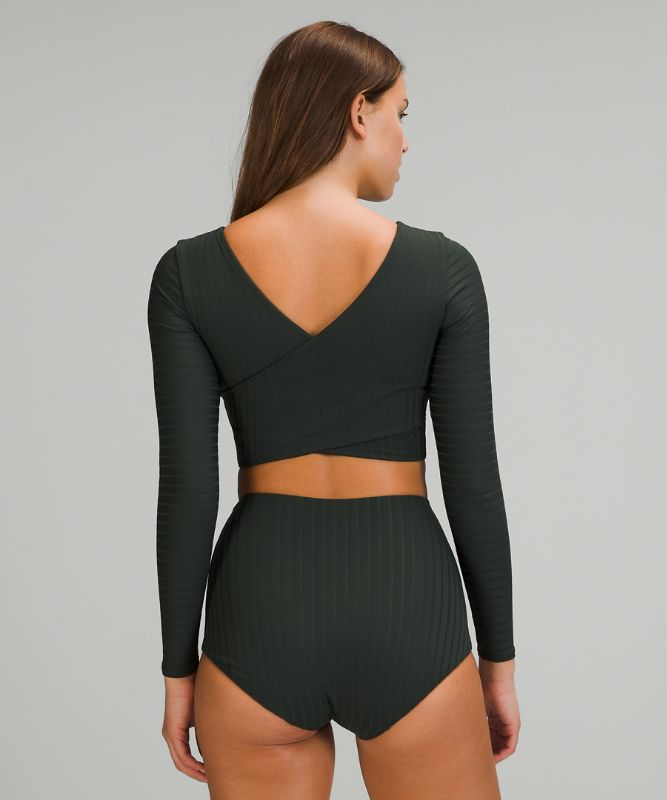 Ribbed Cropped Wrap-Back LS
