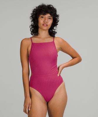Ribbed High-Neck Cross-Back One-Piece