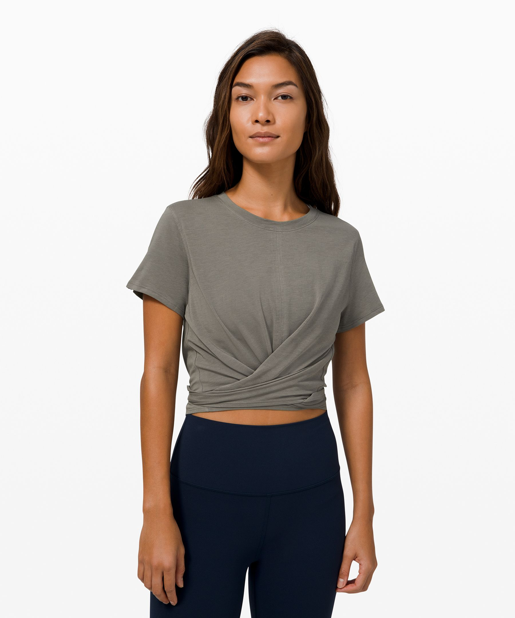 It\\\'s time to restore. Throw on this super-soft, lightweight short sleeve before your morning meditation.
