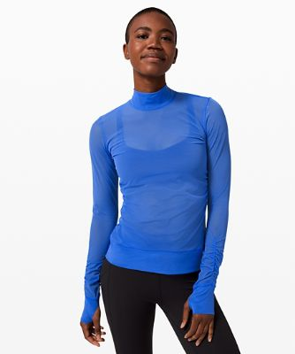 Sheer Thrill Mock Neck Long Sleeve *Online Only
