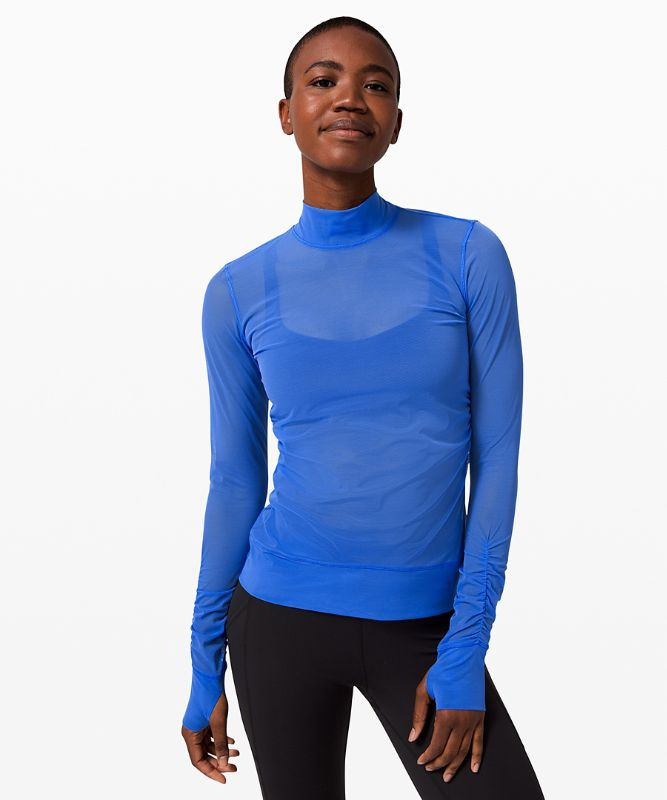 Sheer Thrill Mock Neck LS