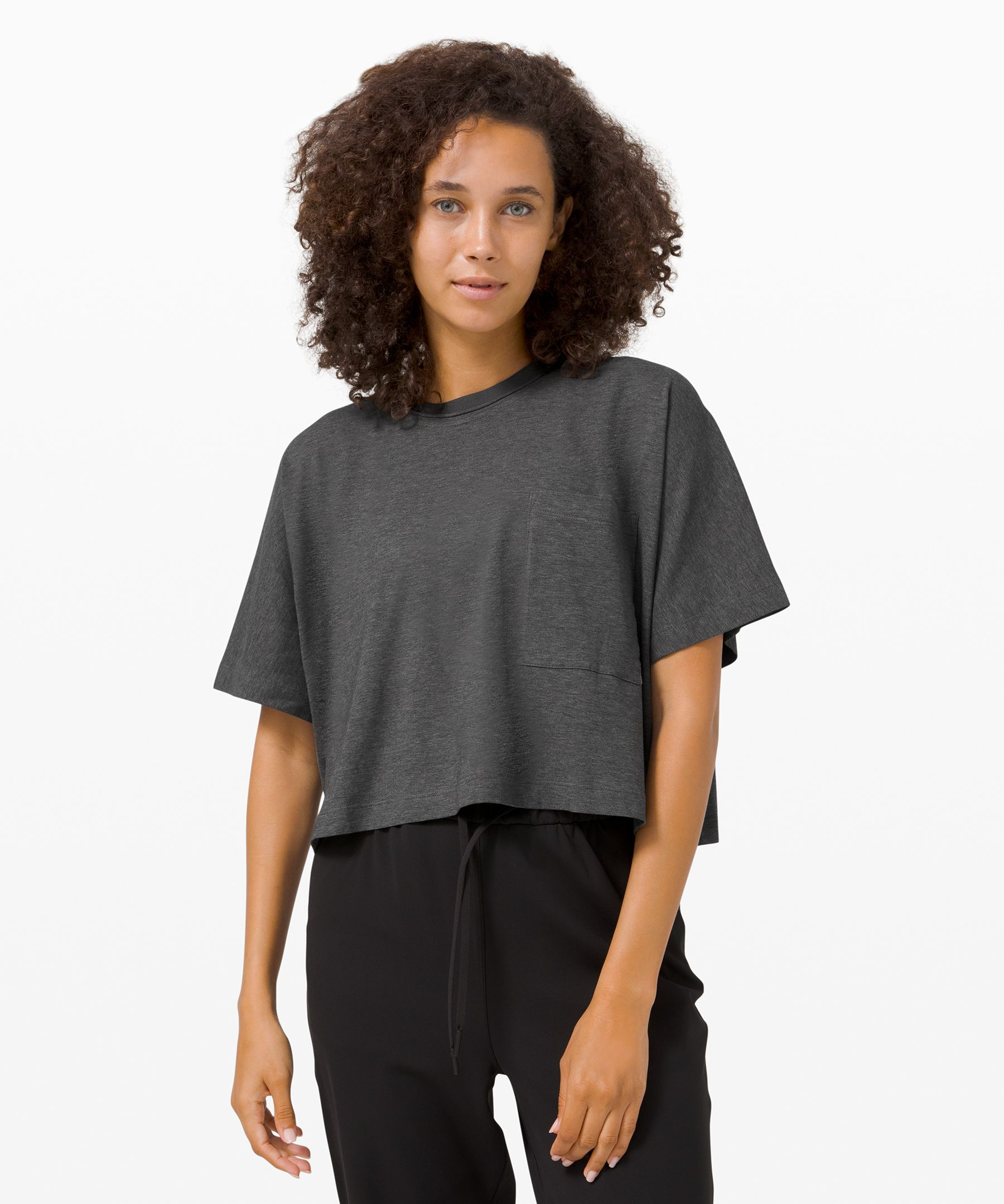 The beauty of a good basic. We made this one special with soft, cotton fabric, a boxy shape, and a big pocket.