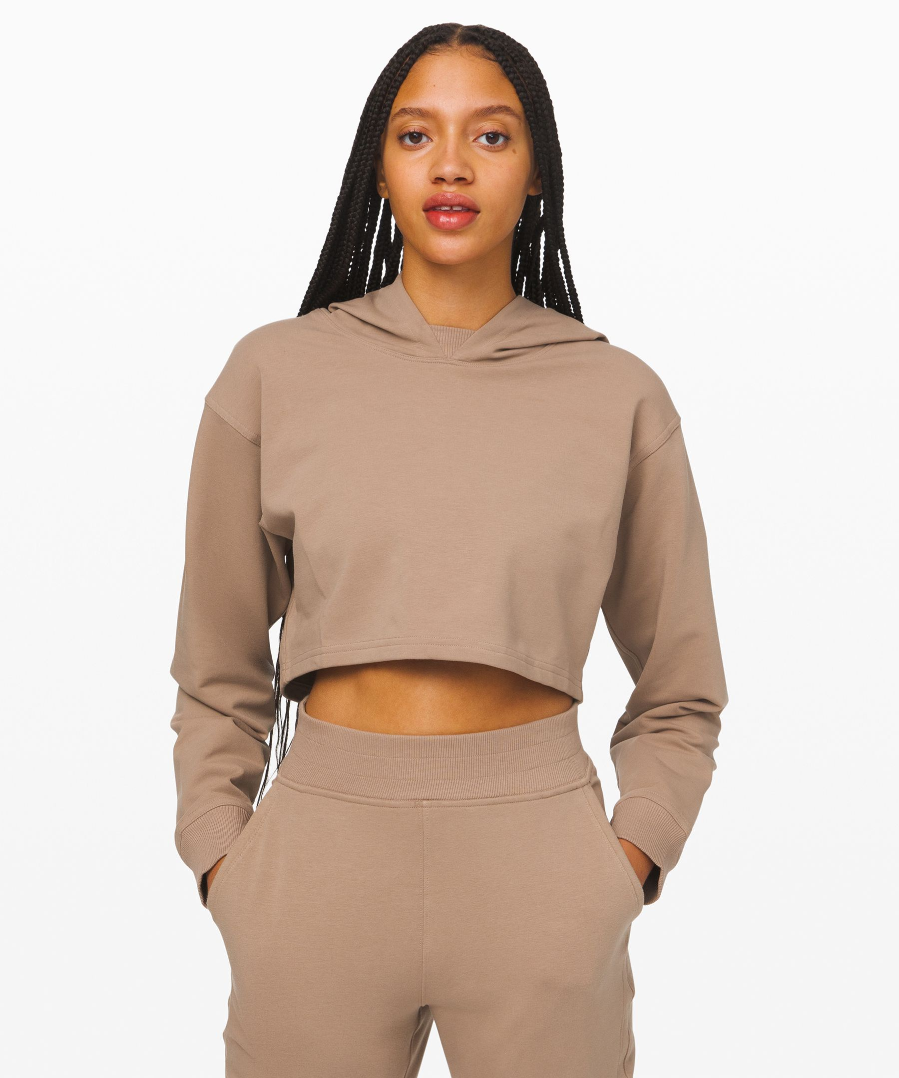 Lululemon La All Yours Cropped Hoodie In Soft Sand