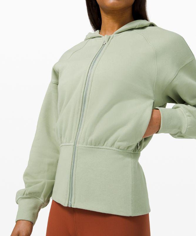 Hugged-Waist Cotton Zip Hoodie