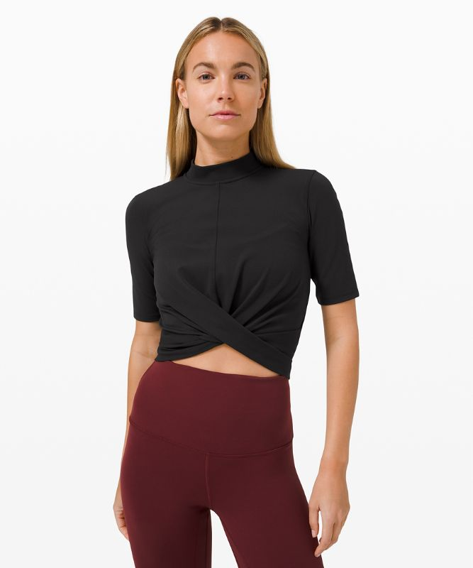 Wrap Front Mock Neck Crop Short Sleeve *Online Only