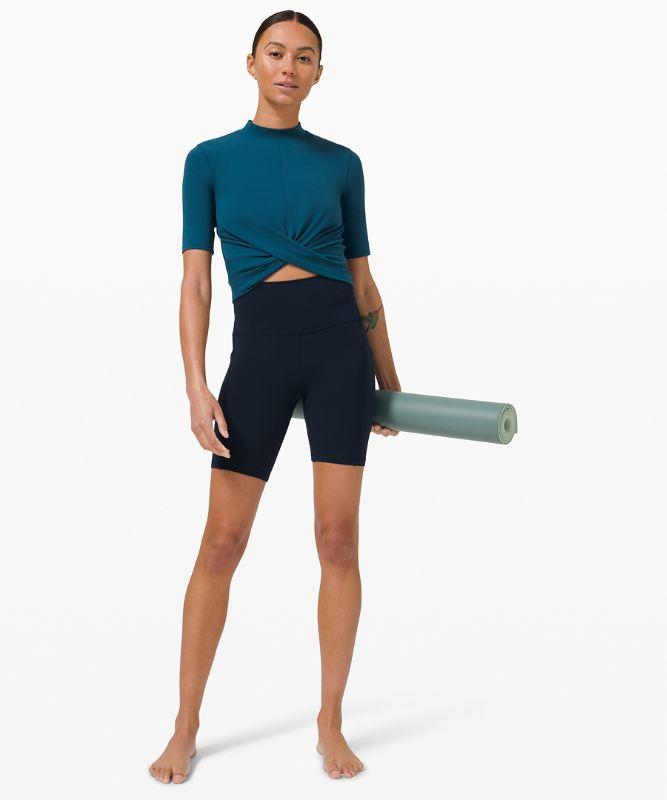 Wrap Front Mock Neck Crop Short Sleeve *Online Only