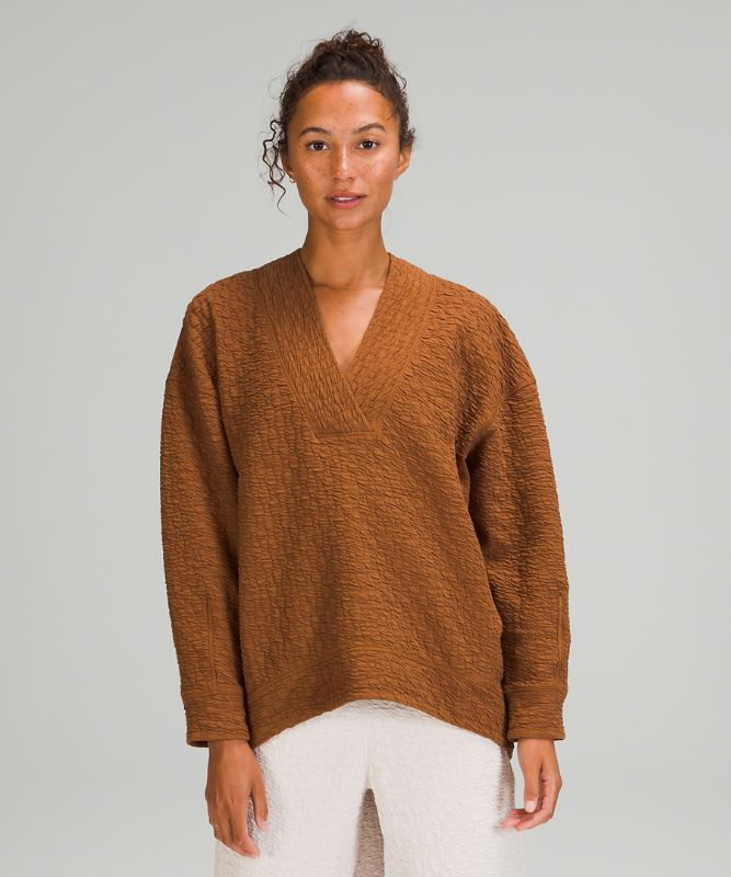 Rippled V-Neck Pullover