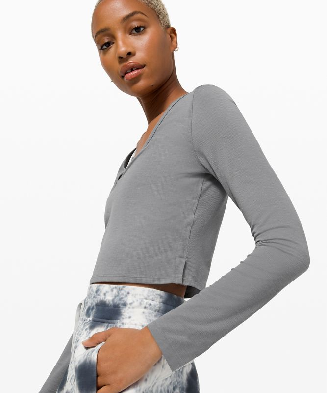 Cropped Henley Long Sleeve