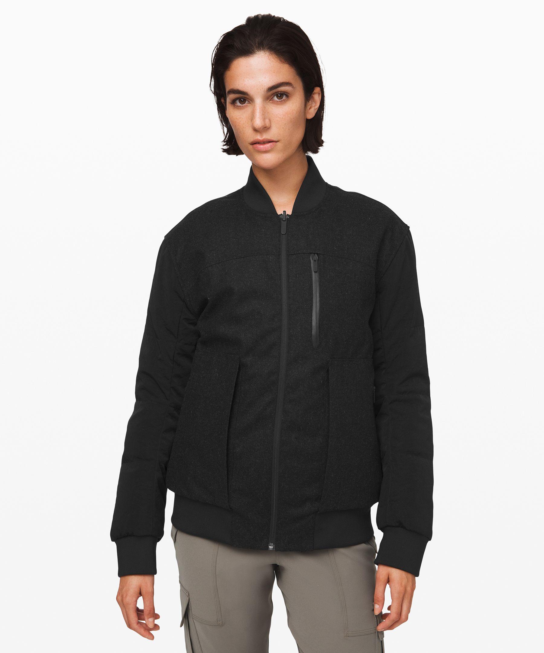 Lululemon Roam Far Wool Bomber *waterproof Wool In Black