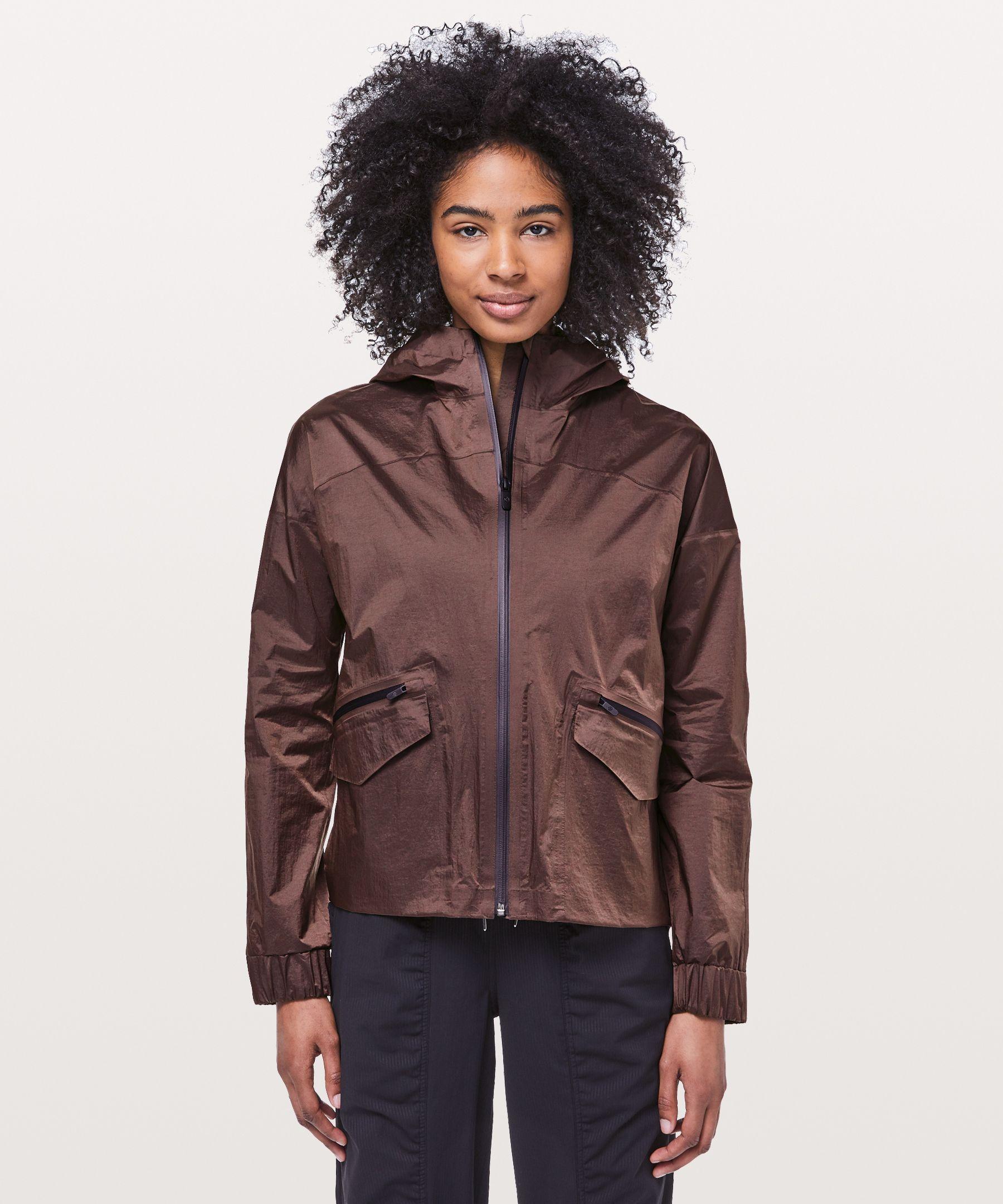 Lululemon Drizzle Down Jacket In Purple Taupe/black