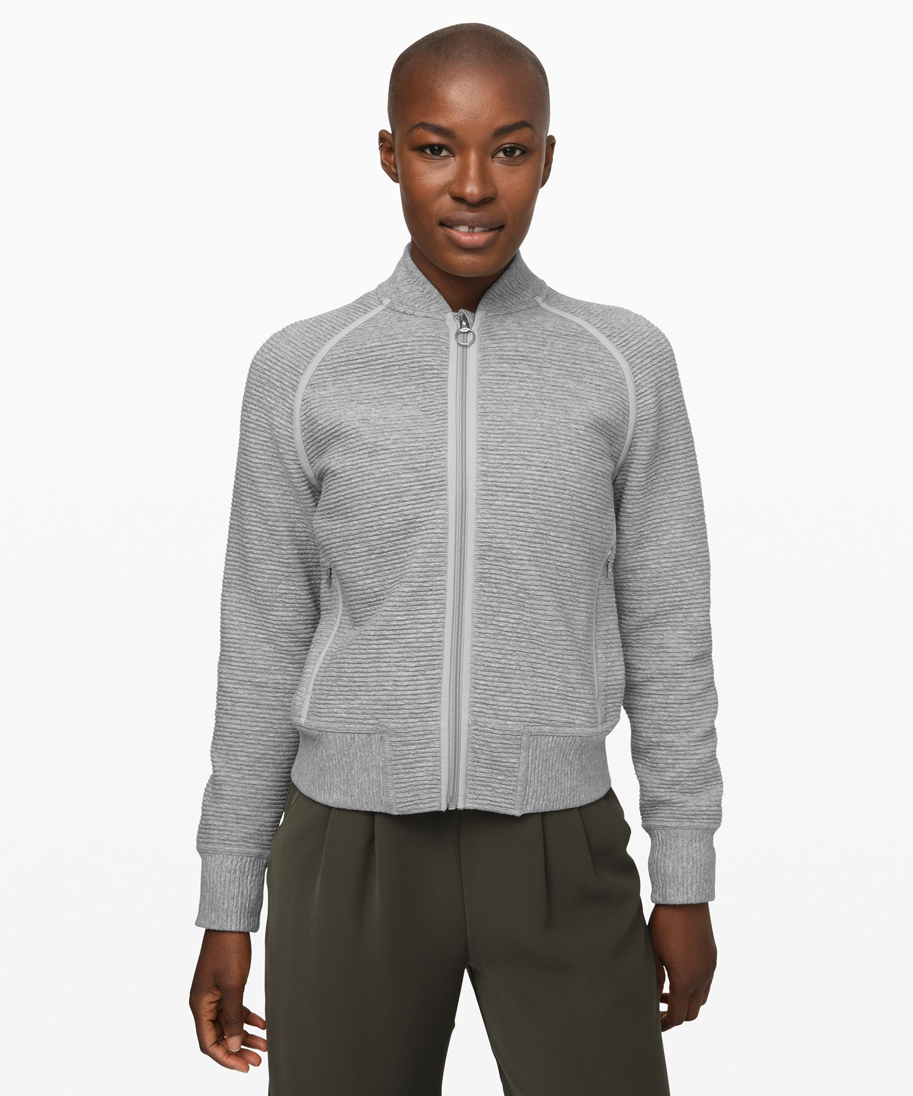Lululemon On Repeat Bomber In Heathered Core Light Grey