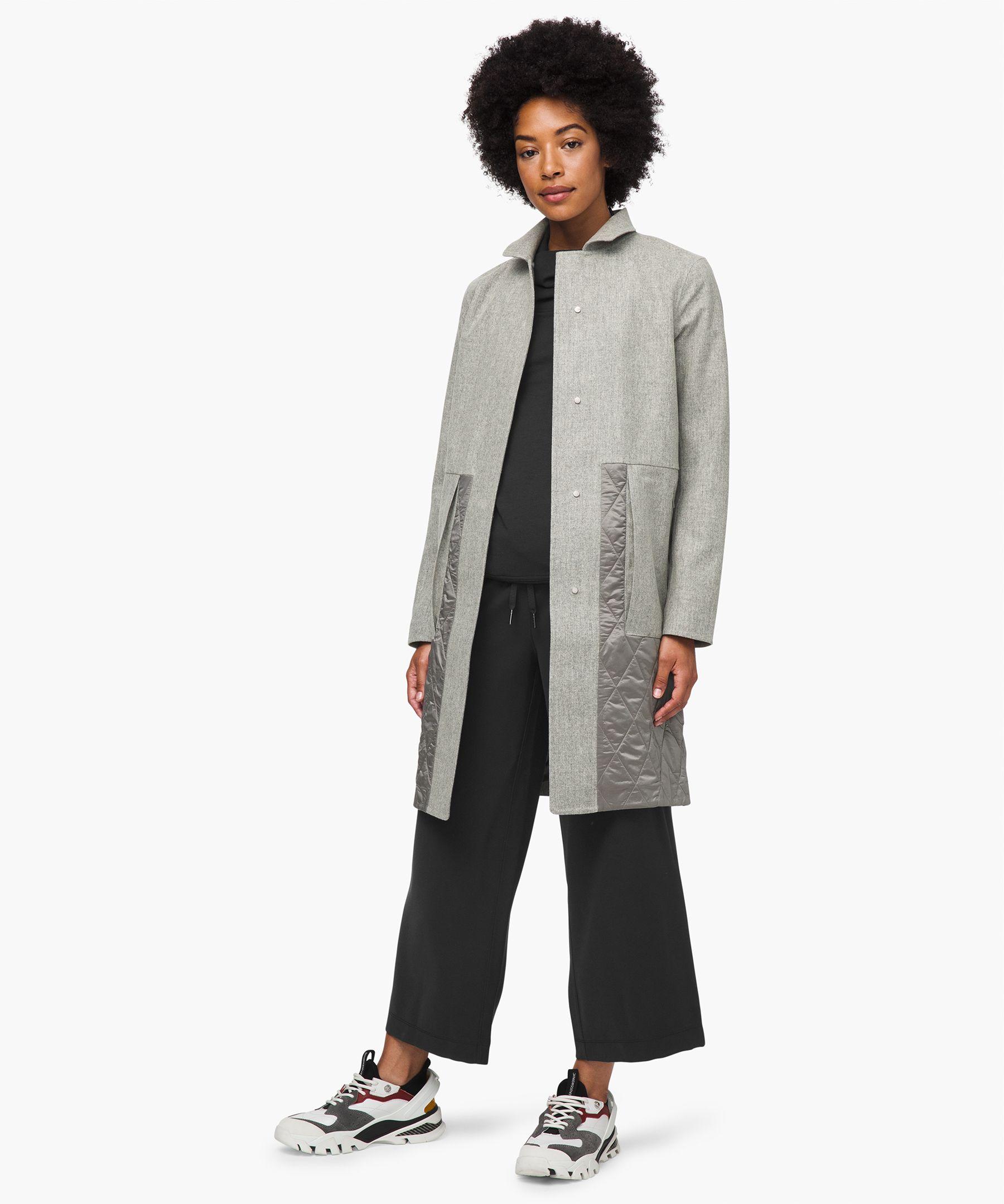 Lululemon Roam Far Wool Coat *waterproof Wool In Heathered Silver Graphite/steam