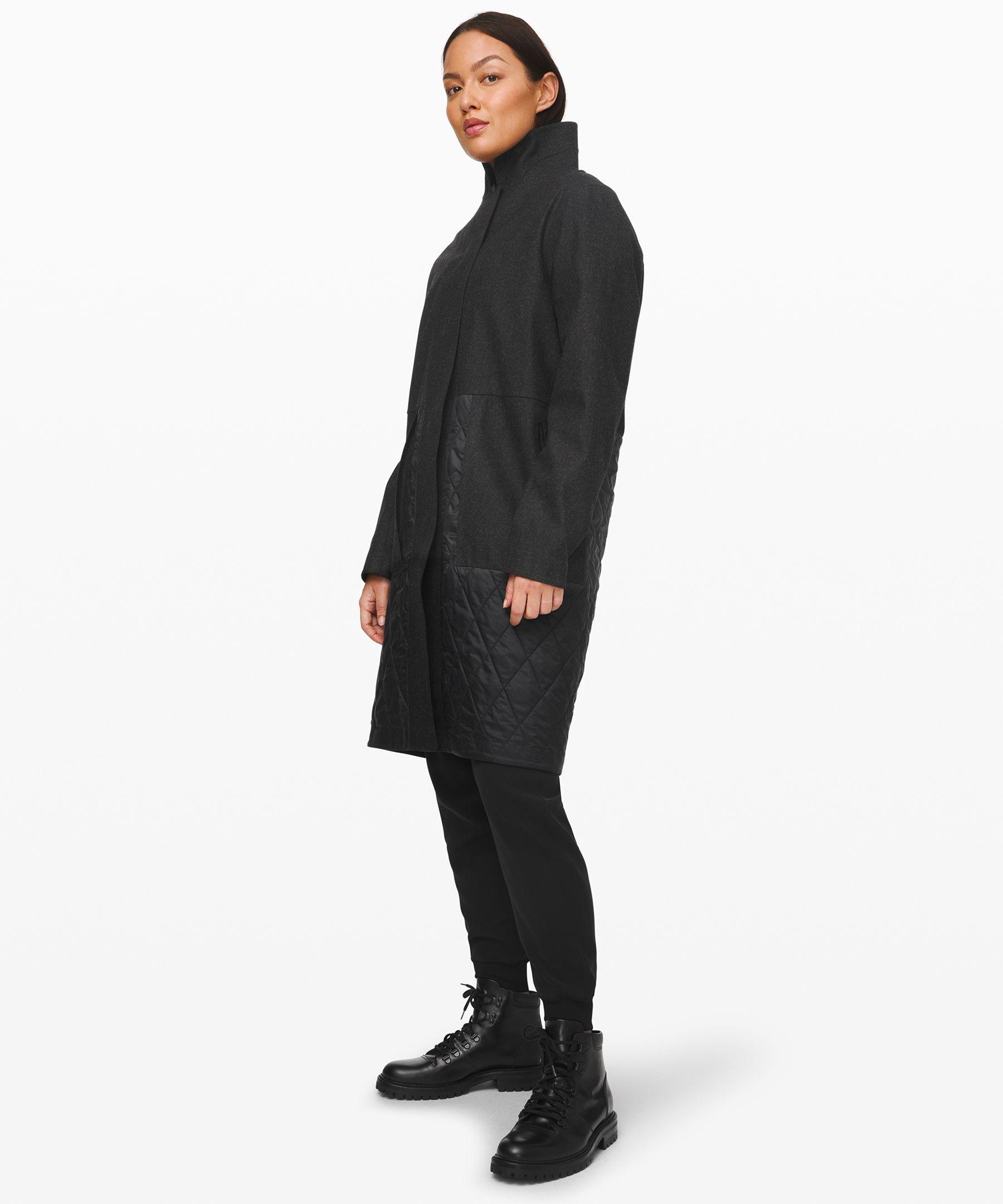 Lululemon Roam Far Wool Coat *waterproof Wool In Black