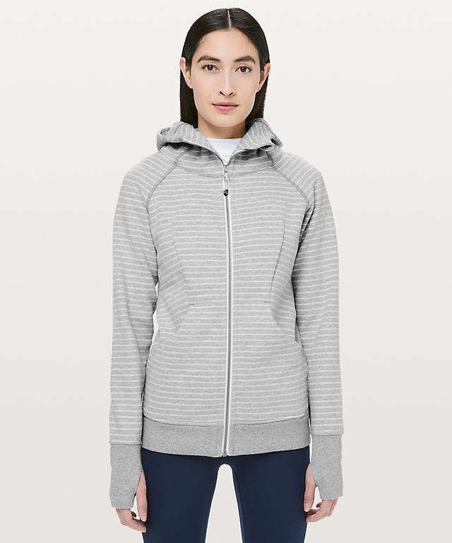 f9f275a20b8a Parallel Stripe Heathered Core Light Grey Heathered White Scuba Hoodie  Classic Cotton Fleece ...