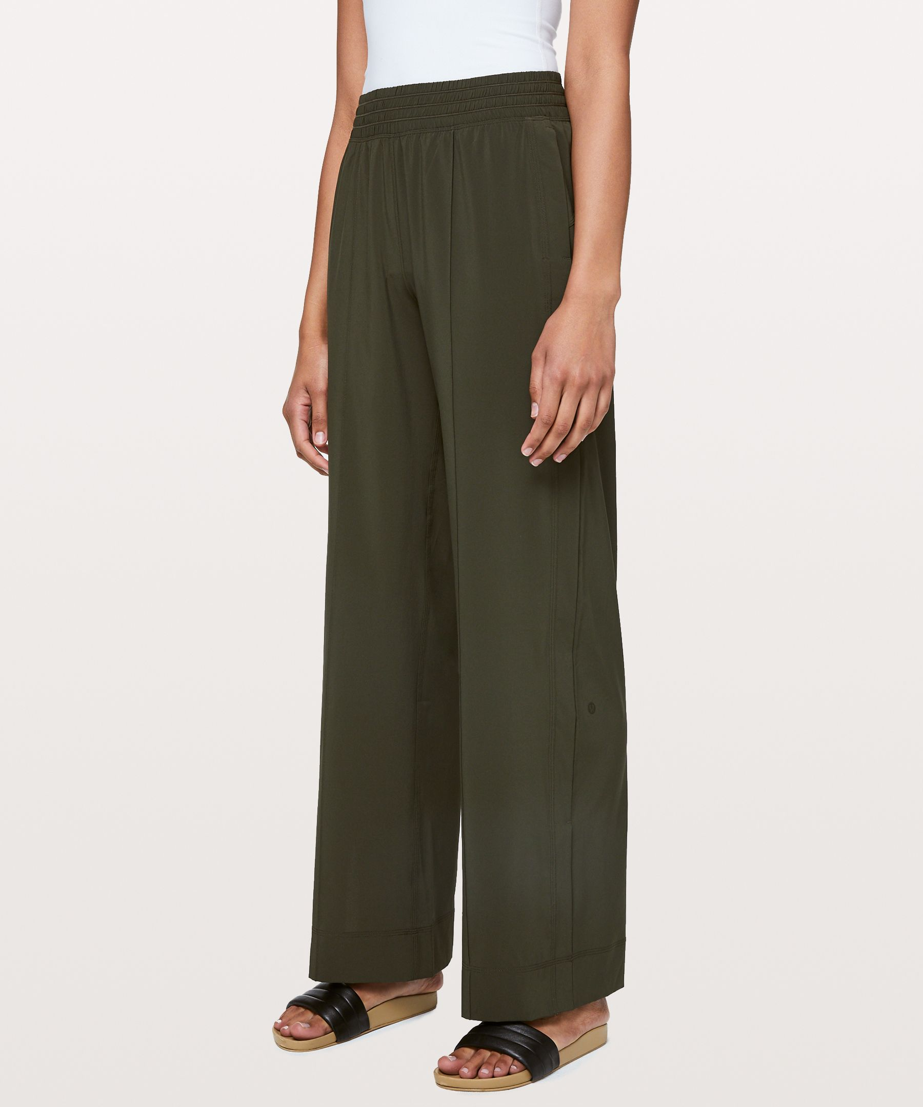Lululemon Wanderer Wide Leg Pant In Dark Olive